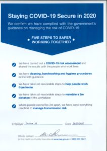 COVID 19 statement - fiver steps to working safer together