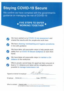 Covid Secure signed
